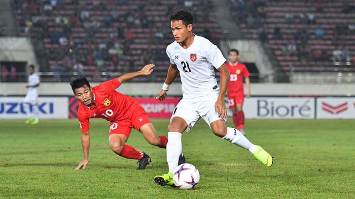 Myanmar (áo trắng) có trận thứ hai liên tiếp tại AFF Cup 2018 thắng trong thế ngược dòng. Ảnh: AFF.
