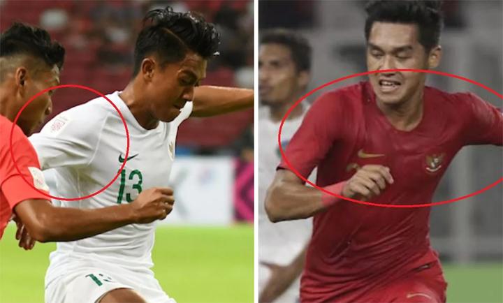 Áo của Indonesia trong trận đầu có logo và trong trận thứ hai để trống trơn (ảnh phải).