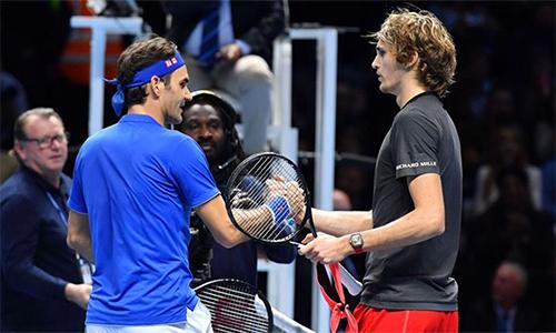 Federer để Zverev cân bằng thành tích đối đầu là 3-3. Ảnh: Sky.