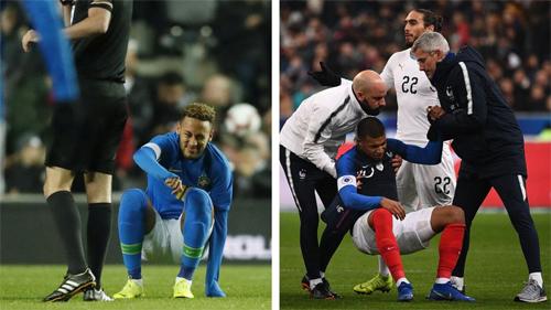 Neymar và Mbappe đều dính chấn thương, phải rời sân sớm ở loạt trận giao hữu đầu tuần này.