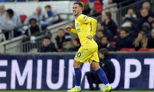 Hazard đã không ghi bàn cho Chelsea trong gần hai tháng. Ảnh: AP.