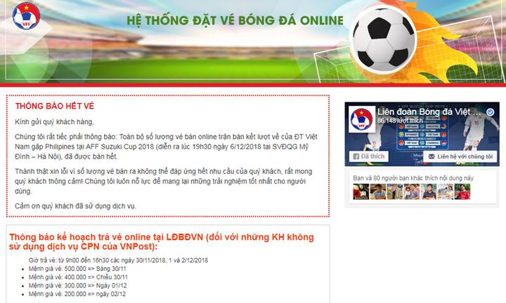 Thông báo hết vé trận Việt Nam - Philippines trên một trong bốn trang web bán vé online của VFF. Ảnh chụp màn hình.