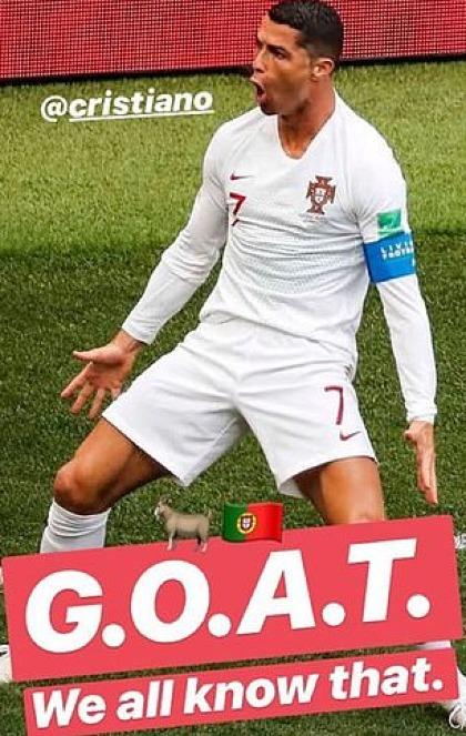 Tuyển Bồ Đào Nha dành sự ủng hộ cho Ronaldo. Ảnh:Instagram.