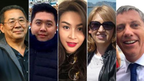 Các nạn nhân của vụ tai nạn từ trái qua:Vichai Srivaddhanaprabha, Kaveporn Punpare, Nusara Suknamai, Izabela Roza Lechowicz vàEric Swaffer.