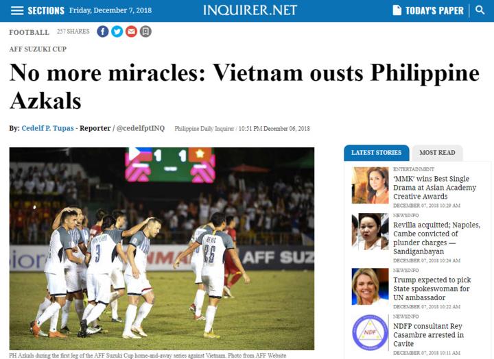 Bài báo của Inquirer về thất bại của Philippines trước Việt Nam.