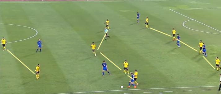 Sơ đồ 4-4-2 của Malaysia chỉ hiện rõ khi họ chơi lùi sâu và phòng ngự đủ lâu.