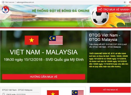 Giao diện của trang web bán vé giả mạo https://vebongonline.com.vn.
