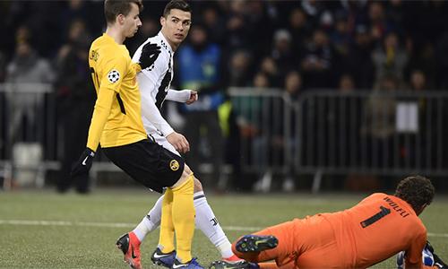Ronaldo và đồng đội không tận dụng được hàng loạt cơ hội mà họ tạo ra trên sân Young Boys. Ảnh: La Presse.