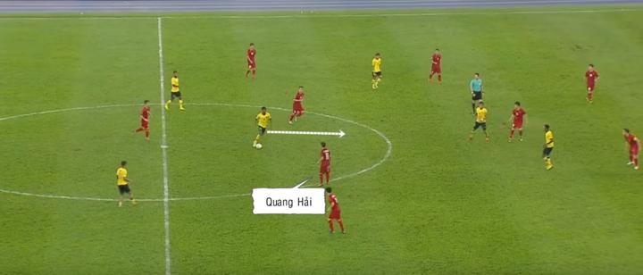 Quang Hải không gây sức ép, để tiền vệ Malaysia thoải mái xộc bóng theo trung lộ