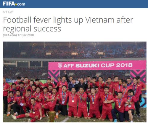 FIFA chúc mừng chiến tích của Việt Nam ở đấu trường khu vực. Ảnh chụp màn hình.