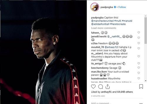 Bức ảnh gây tranh cãi của Pogab sau khi Mourinho bị sa thải. Ảnh:Instagram.