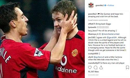 Neville chúc Solskjaer may mắn trên cương vị mới. Ảnh: Instagram.
