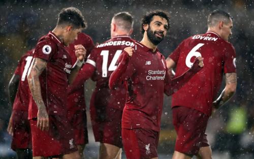 Salah ghi bàn thắng thứ 11 tại Ngoại hạng Anh mùa này. Ảnh:PA.