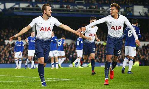 Sáu bàn vào lưới Everton giúp Tottenham có 37 bàn tại Ngoại hạng Anh. Ảnh: AFP.