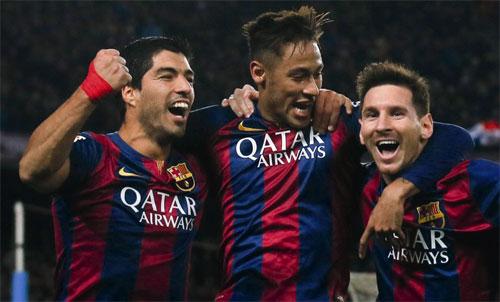 Barca từng có hàng công ăn ý nhất lịch sử gồm Messi, Suarez và Neymar. Ảnh: Reuters
