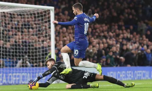 Hazard không thắng được thủ môn Gunn trong tình huống đối mặt. Ảnh:Rex.