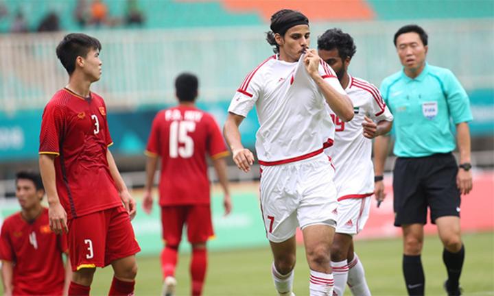 UAE từng giành HC đồng Asiad 2018 sau khi vượt qua Việt Nam trên loạt luân lưu. Ảnh:Lâm Thỏa.