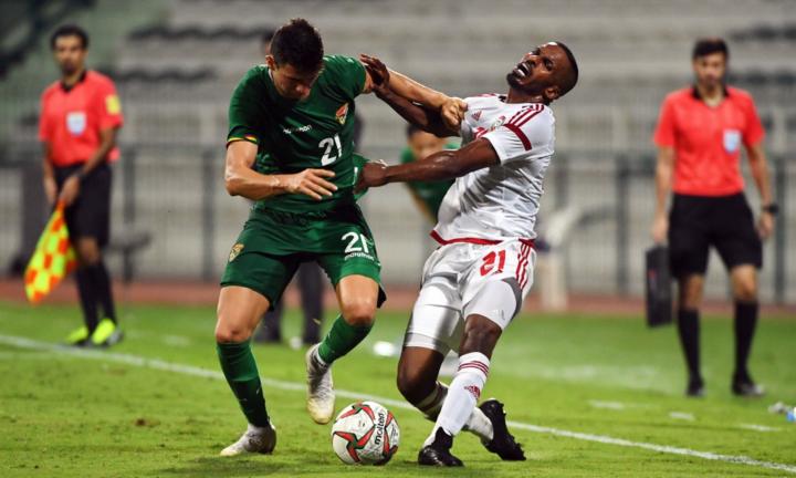 UAE (áo trắng) chuẩn bị cho Asian Cup với trận hòa Bolivia (áo xanh). Ảnh: UAEFA.
