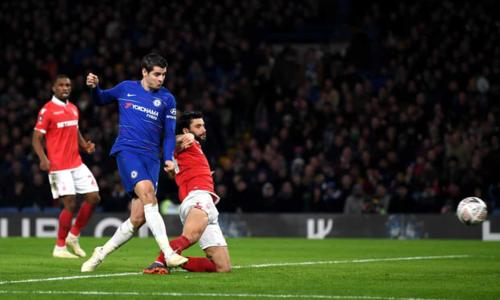 Morata ghi bàn mở tỷ số. Ảnh:AFP.