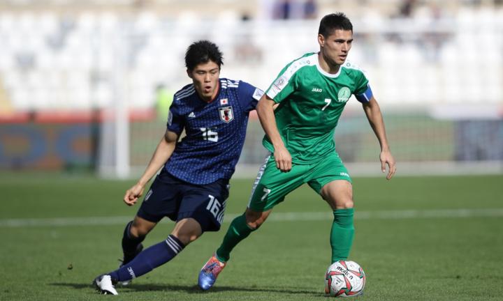 Turkmenistan khiến Nhật Bản phải vất vả tới những giây cuối cùng. Ảnh:AFC.