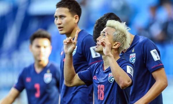 Chanathip (số 18) mừng bàn duy nhất cho Thái Lan tối 10/1. Ảnh: AFC.