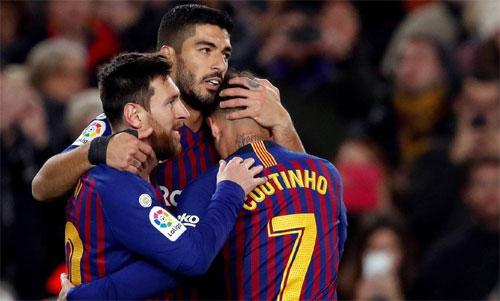 Barca đang hình thành bộ ba mới sau thời đỉnh cao của Messi, Suarez, Neymar. Ảnh: Reuters