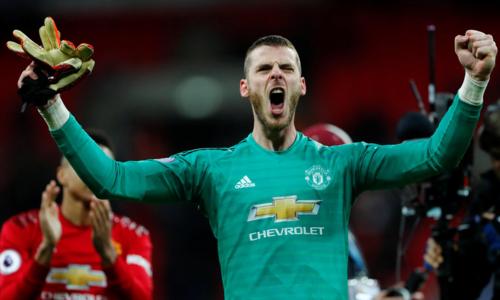 De Gea tỏa sáng, góp phần giúpMan Utd thắng Tottenham 1-0. Ảnh: Reuters.