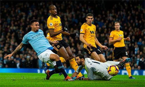 Thêm cú đúp vào lưới Wolves, Jesus đã ghi tới 12 bàn trong tám trận gần nhất anh thi đấu trên sân nhà Etihad trên mọi mặt trận. Ảnh: PA.