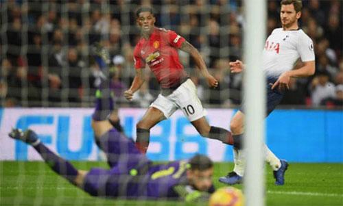 Rashford giúp Man Utd thắng ngay trên sân của Tottenham, một ứng viên vô địch Ngoại hạng Anh. Ảnh: Reuters