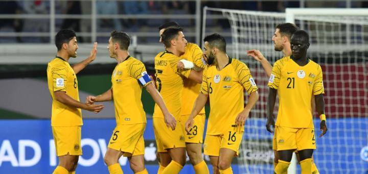 Australia giành chiến thắng vào phút bù giờ thứ ba. Ảnh:AFC.