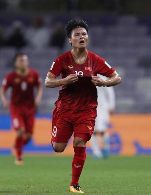 Quang Hải mừng bàn thắng vào lưới Yemen. Ảnh: Anh Khoa.