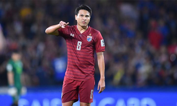 Thitipan (số 8) đang thi đấu thành công trong màu áo đội tuyển. Ảnh: Changsuek
