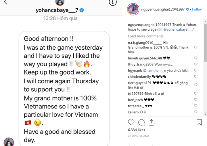 Quang Hải công bố tin nhắn bất ngờ từ Cabaye. Ảnh: Instagram/nguyenquanghai12041997.