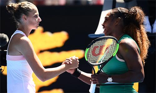 Pliskova khiến Serena không thể hiện thực hoá mục tiêu đoạt Grand Slam thứ 24 tại Australia Mở rộng. Ảnh: AusOpen.