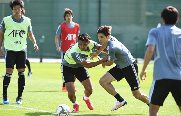 Các cầu thủ Nhật Bản trong buổi tập sáng 22/1. Ảnh: JFA.