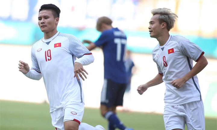 Quang Hải ghi bàn duy nhất, giúp Olympic Việt Nam đánh bại Nhật Bản tại vòng bảng Asiad ngày 19/8/2018. Ảnh: Lâm Thỏa