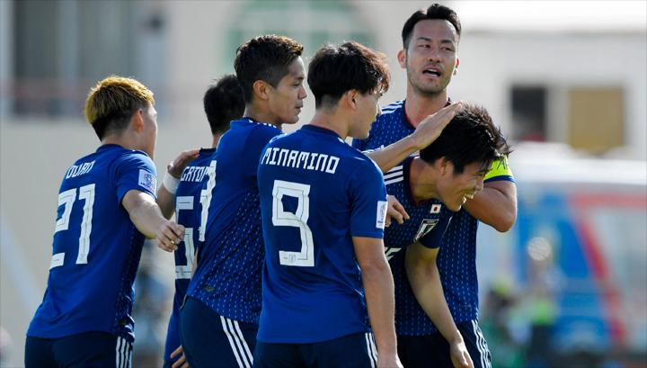 Các cầu thủ Nhật Bản mừng bàn thắng duy nhất trong trận đấu với Ả-rập Xê-út ở vòng 1/8.