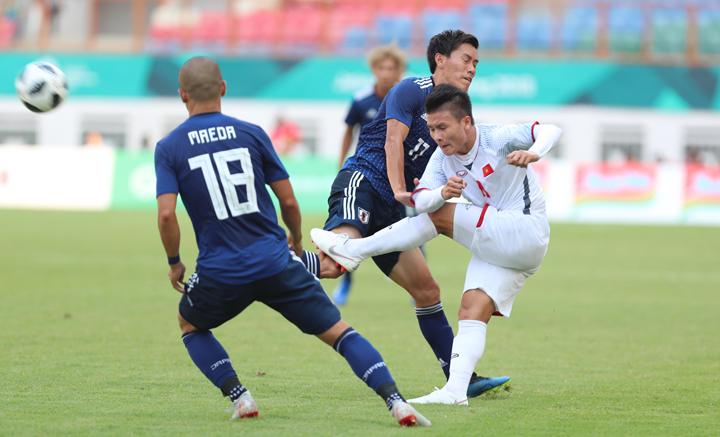 Quang Hải từng chọc thủng lưới Nhật Bản ở Asiad 2018. Ảnh: Đức Đồng.