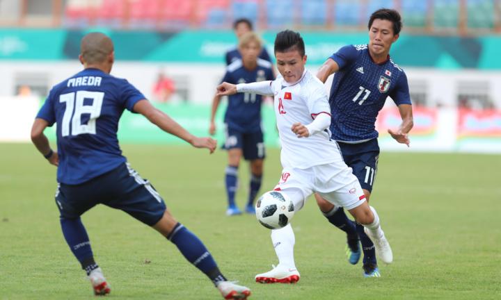 Phần lớn tuyển thủ Việt Nam từng trải nghiệm chiến thắng trước Nhật Bản ở Asiad 2018. Ảnh: Đức Đồng.
