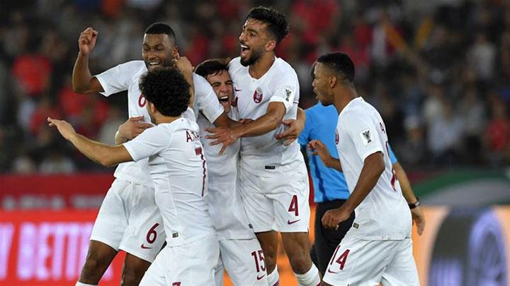 Niềm vui của cầu thủ Qatar sau khi hạ Hàn Quốc ở tứ kết. Ảnh: AFC.