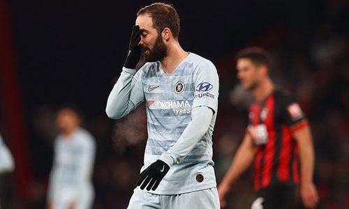 Nỗi thất vọng của Higuain trong trận ra mắt Ngoại hạng Anh. Ảnh: Reuters.