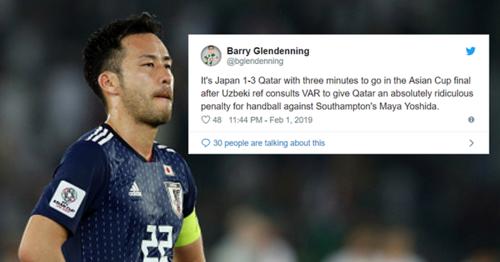 Yoshida đã chơi rất hay ở Asian Cup 2019 nhưng lại không thể có một giải đấu trọn vẹn vì một quyết định của VAR.