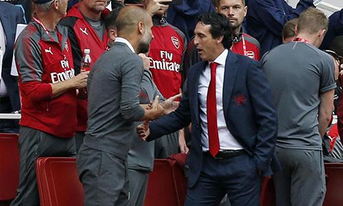 Emery chưa thắng Guardiola lần nào trong 11 lần chạm trán. Ảnh: PA.