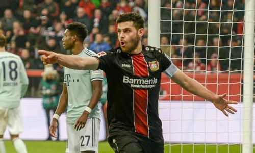 Kevin Volland ghi bàn thắng đưa Leverkusen dẫn trước trong hiệp hai. Ảnh:AP.