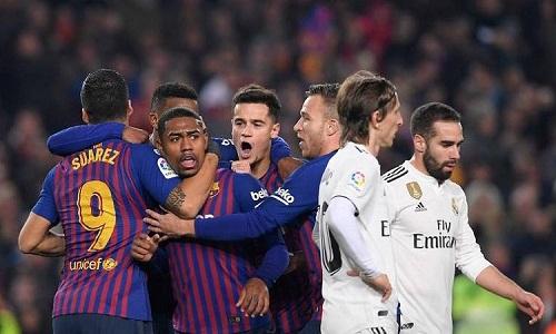 Barca phải sử dụng áo đấu thông thường trong trận El Clasico. Ảnh: Marca.