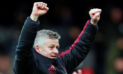 Solskjaer thắng trận thứ 10 dưới cương vị HLV Man Utd. Ảnh: PA.