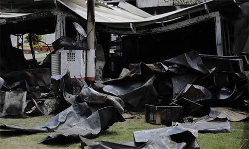 Hiện trường vụ cháy tại Flamengo. Ảnh: AP.