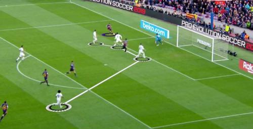 Marcelo không kịp theo về, để Barca tổ chức tấn công và ghi bàn Cup Nhà Vua vừa qua.