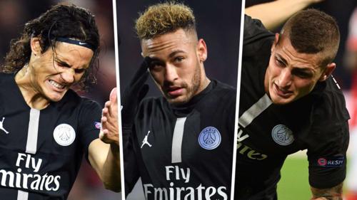 Cavani, Neymar và Verratti đồng loạt chấn thương khi PSG đối đầu Man Utd. Ảnh:AFP.