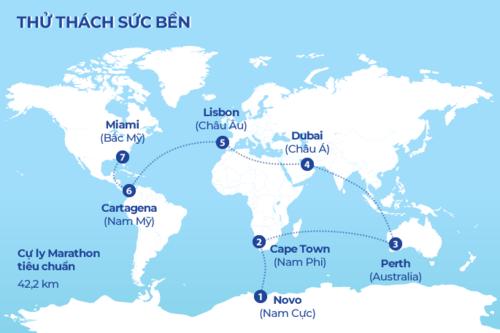 Gill cùng các VĐV phải di chuyển qua bảy châu lục để chinh phục WMC. Đồ họa: Tiến Thành.
